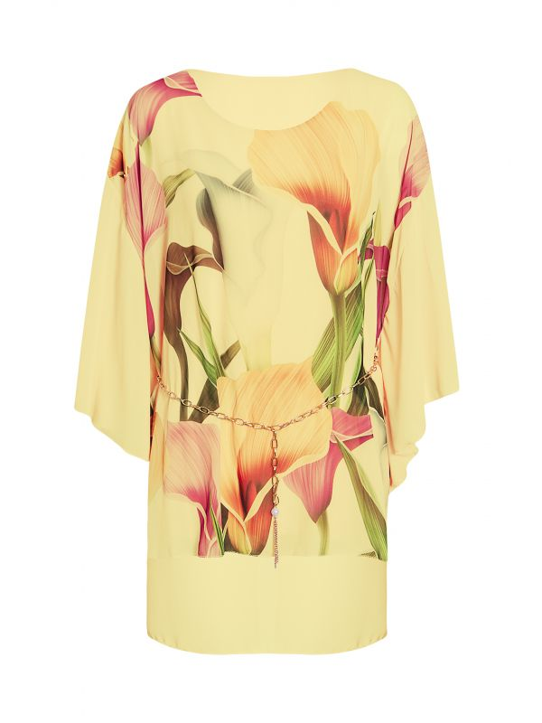 Floral Print Chain Belted Chiffon Baggy Top
