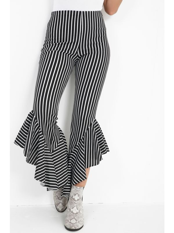 Striped Flared Frill Hem Cropped Trousers