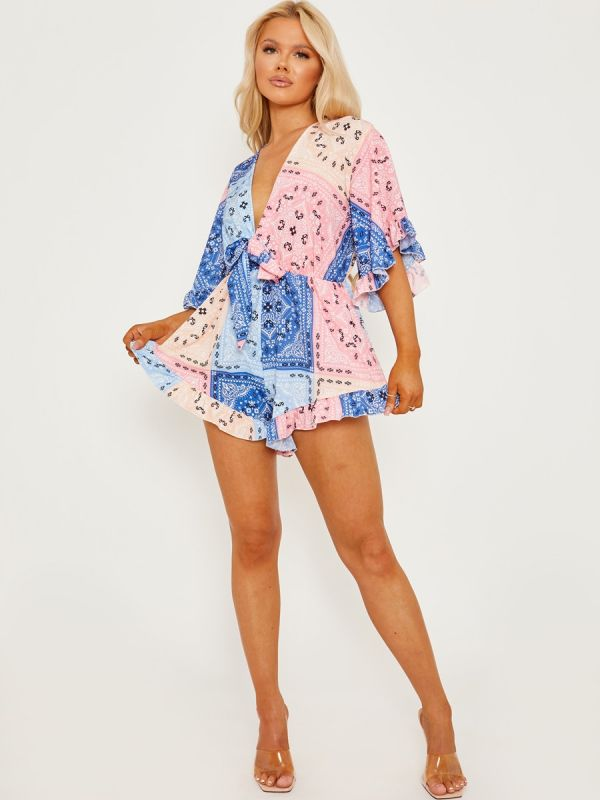 Self-Tie Knot Front Printed Playsuit