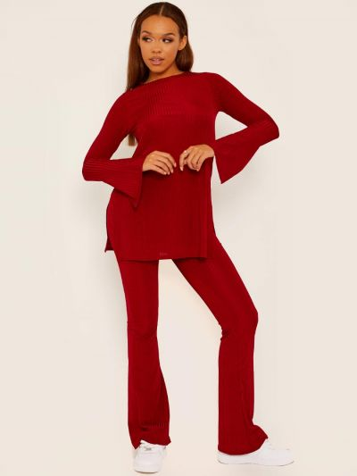 Spilt Side Ribbed Top and Trouser Co-ord