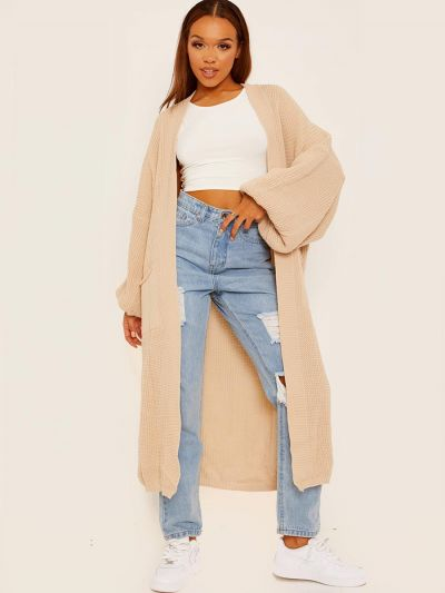 Balloon Sleeves Knitted Open Cardigan