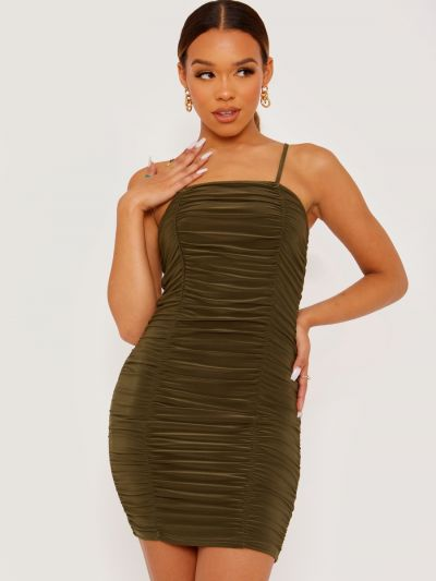 Slinky Ruched Cami Dress