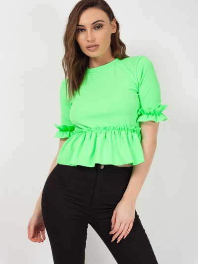 Ruched Frill Hem And Sleeves Top